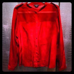 Dark Red Sheer Panel Silk Button Down Blouse XL